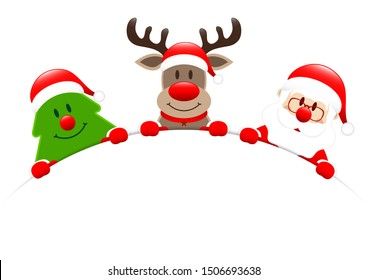 Christmas Tree Reindeer And Santa Holding Round Banner