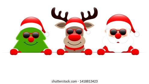 Christmas Tree Reindeer And Santa With Sunglasses Holding Horizontal Banner