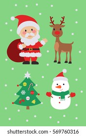 Christmas tree, Santa Claus, Snowman, and Reindeer