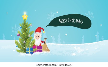 Christmas tree with santa claus, when he is giving gifts to you. Christmas postcard. Winter nature in background.