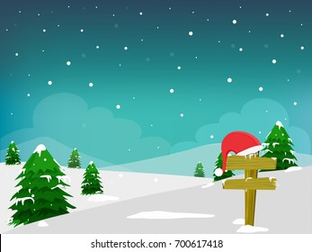 Christmas tree, and Santa's Cap on Sign Board, Winter Background.