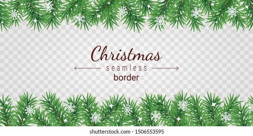 Christmas tree seamless border on transparent background - garland from green spruce branches and white snowflakes.