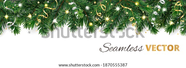 Christmas tree seamless decoration isolated on white. Evergreen tree with lights and ribbons. Festive border, frame. Realistic vector. For holiday headers, banners, party posters.