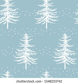 Christmas tree seamless pattern. Noel watercolor print, New year  winter holiday decoration, blue christmas background with firs and white snow, wallpaper, wrapping paper design