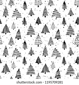 Christmas tree seamless pattern. Vector illustration. Black and white. Hand drawn christmas tree doodle sketch drawing with ink. Design for wrapping christmas gift paper and backgrounds Winter holiday