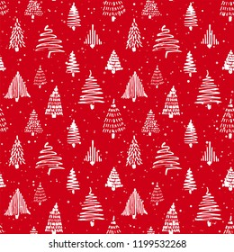 Christmas tree seamless pattern. Vector illustration. Red and white. Hand drawn doodle sketch drawing with ink. Design for wrapping Christmas gift paper and backgrounds. Winter holiday season
