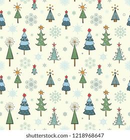 Christmas tree seamless pattern. Vector illustration.