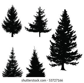 Christmas tree set, elements for design