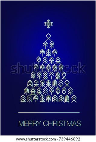 christmas tree set hologram effect scandinavian style stock vector