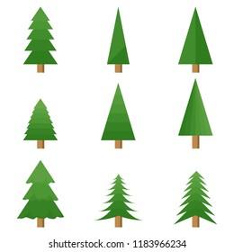 Christmas tree, a set of nine green Christmas trees. A cartoon Christmas tree. Flat design, vector.
