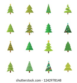 Christmas tree set, vector illustration Xmas tree with decoration