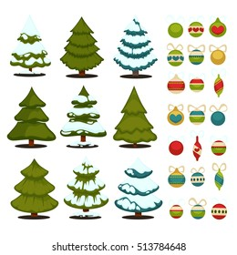 Christmas tree Set of xmas green trees and decoration ball. Winter tree holiday design elements  Isolated vector.