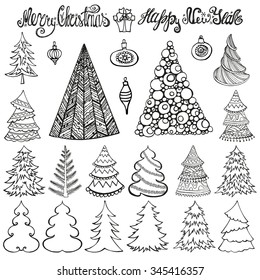 Christmas tree set.Outline silhouette, design template vector set. Concept icon collection.Isolated on white background.Hand drawn doodles, handwriting titles,balls.New year elements