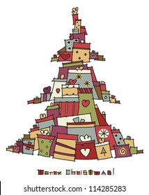Christmas tree shape made from colorful gifts.