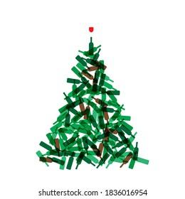 Christmas Tree Shape Made of Wine Bottles. Vine Bottle Xmas Spruce Silhouette