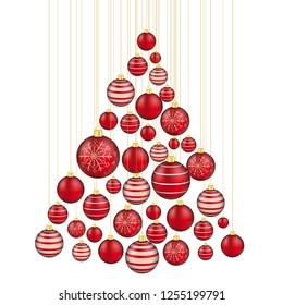Christmas tree shape with red baubles on the white background. Eps 10 vector file.