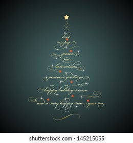 Christmas tree shaped Season�s Greetings. Vector EPS 10 illustration.