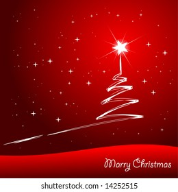 christmas tree with shiny star on the sky