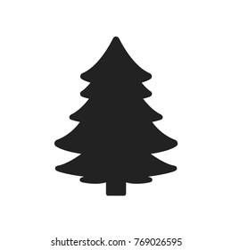 Christmas Tree Silhouette, Christmas Tree, Tree Background, Isolated Tree Vector Icon Illustration