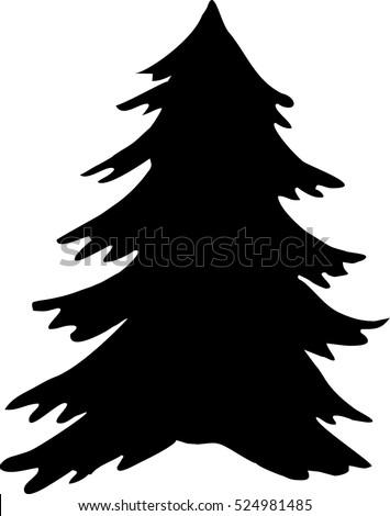 christmas tree silhouette black and white icon christmas tree vector icon - Christmas Tree Black And White