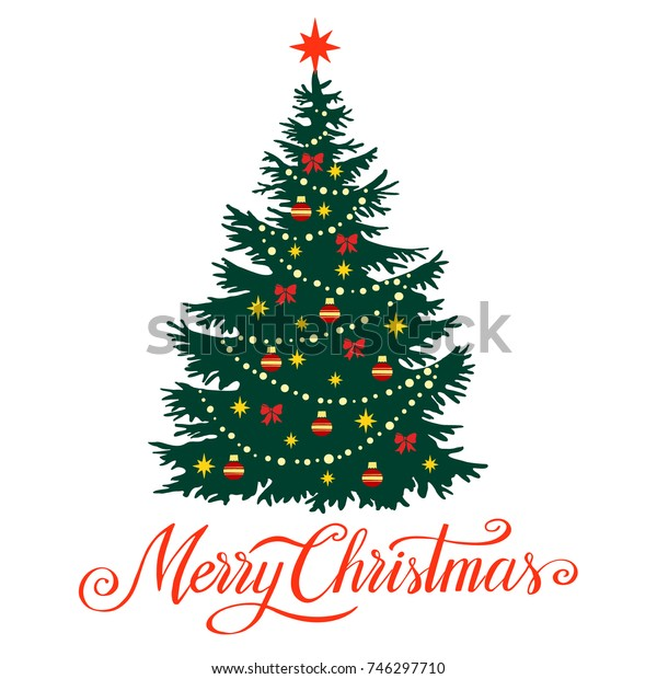 Christmas tree silhouette with decorations, vector illustration  isolated on white background, template for design, greeting card, invitation.