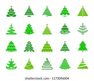 christmas tree silhouette icons set isolated web sign kit of stylized spruce fir farm