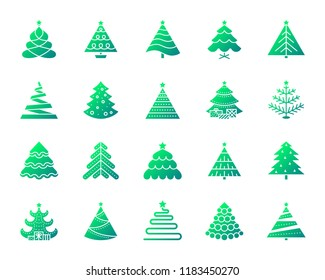 Christmas Tree silhouette icons set. Isolated on white web sign kit of stylized spruce. Fir Farm pictogram collection pine, fir, xmas spruce. Simple contour symbol. Christmas Tree vector icon shape