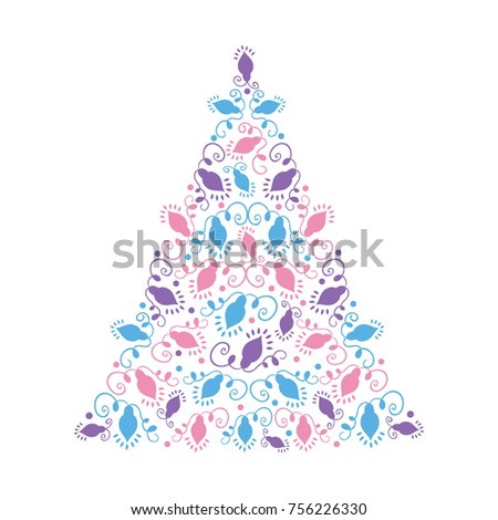 christmas tree silhouette with christmas lights garlands