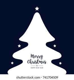 christmas tree silhouette stars white greetings text blue background