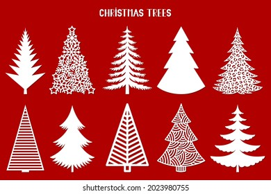 Christmas tree silhouette. Vector set template for laser, paper cutting. Decorative ornate illustration. Trees for cards, flyers, print. Modern design for winter holidays. Home decoration.