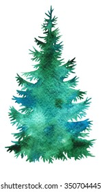 Christmas tree  silhouette , watercolor vector hand paint illustration for design