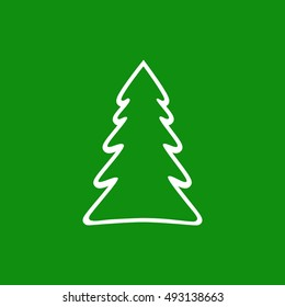 Christmas tree simple white shape icon on green background