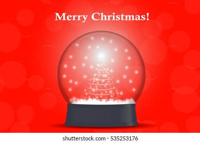 Christmas tree in a snow globe. vector illustration on red background.