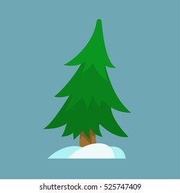 Christmas tree and snow in simple flat style