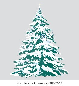 Christmas tree with snow-covered branches isolated on gray background. Sketch for greeting card, festive poster or party invitations. Attributes of Christmas and New year. Vector cartoon close-up.