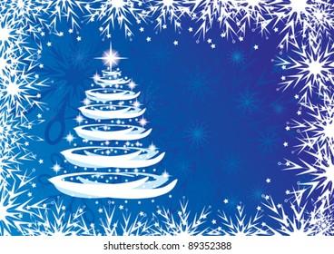 Christmas tree and snowflakes, festive card. EPS 10.