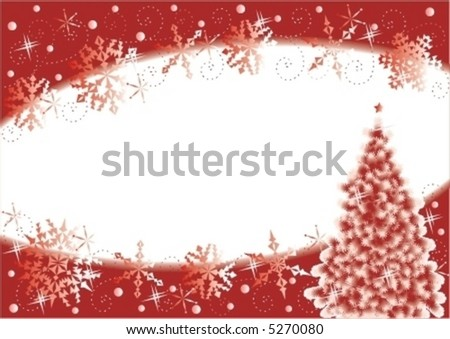 Christmas Tree And Snowflakes Horizontal Background Red White For High Res JPEG Or