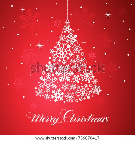 Christmas Tree With Snowflakes Merry And Happy New Year Red Card Vector Illustration