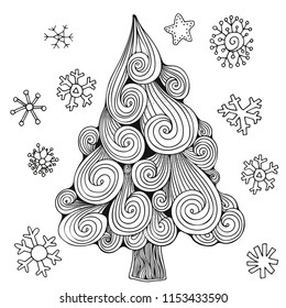 Christmas tree and snowflakes. Vector Pattern for adult coloring book. Doodle style. Black and white Sketch. Zentangle.