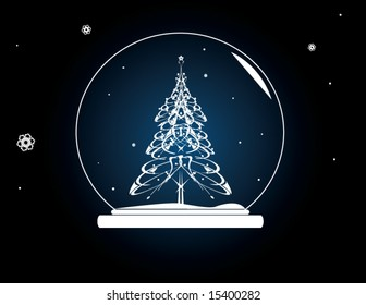 Christmas tree snowglobe - vector version