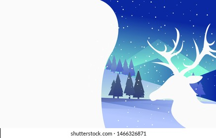 Christmas tree in snowy forest. Snowfall at night with reindeer and copy space. Christmas concept. Vector illustration can be used for topics like Xmas and New Year greetings