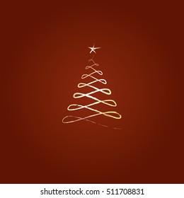 Christmas tree sparkling silhouette vector