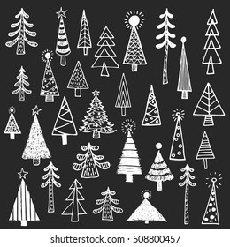 Christmas tree spruce fir fir tree simple drawing set