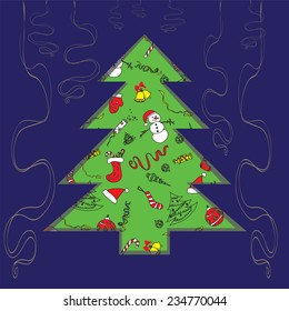 Christmas tree. Stencil. Carved tree on a blue background with ribbons
