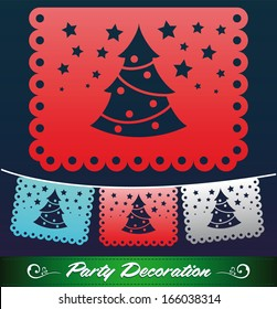 Christmas tree streets decoration - holiday vector decoration