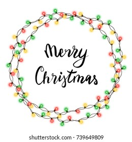 Christmas tree string garland in circle shape and lettering isolated on white background. Realistic Christmas, New Year party decorations with transparency. Light bulb decor. Lights border