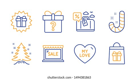 Christmas tree, Surprise gift and Sale line icons set. My love, Candy and Secret gift signs. Travel loan, Holidays shopping symbols. Spruce, Shopping offer. Holidays set. Vector