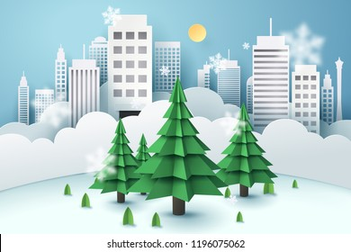 Christmas tree surrounded by a buildings, paper art concept and world sustainable environment friendly idea, vector art and illustration.