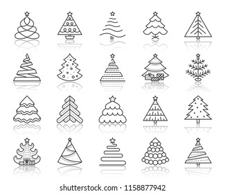 Christmas Tree thin line icons set. Outline sign kit of xmas trendy. Stylized linear icons of artificial snow, spruce, present box fir. Simple christmas tree symbol with reflection vector Illustration