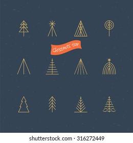 Christmas tree thin line icons for logo design . Vector illustration
